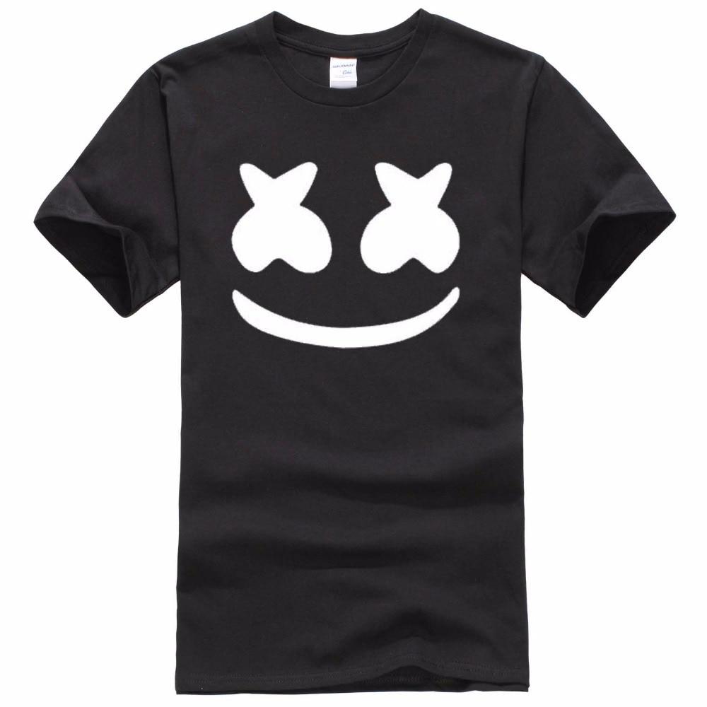 2017 New brand marshmello face men short sleeve boy casual homme   t  -  shirt   cotton tops tees   t     shirt   tee plus fashion
