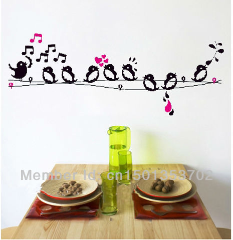 free shipping70*50cm birds sing on the wire wall stickers decals