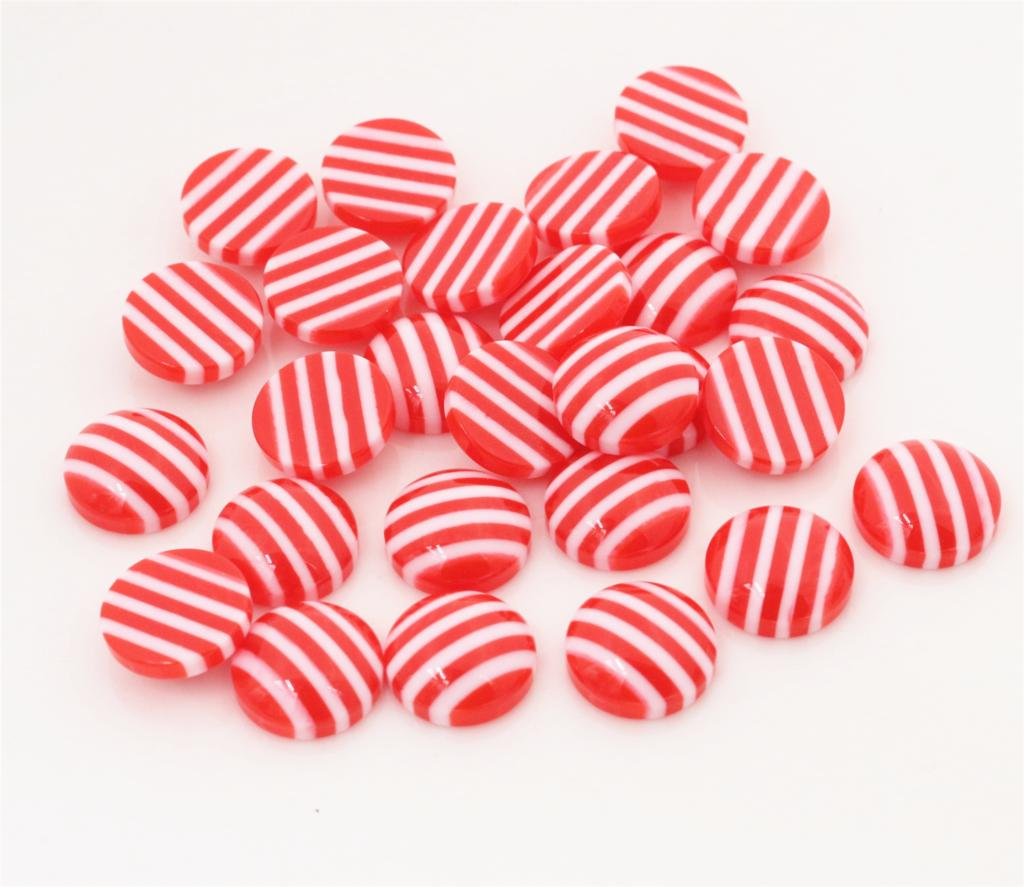 New Fashion 40pcs 12mm White Red Colors Stripe Style Flat Back Resin Cabochons Fit 12mm Cameo Base Cabochons-W3-15