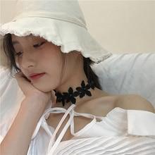 Korean fashion girl retro lace flower petals pearl choker necklace chain wild clavicle chain collar