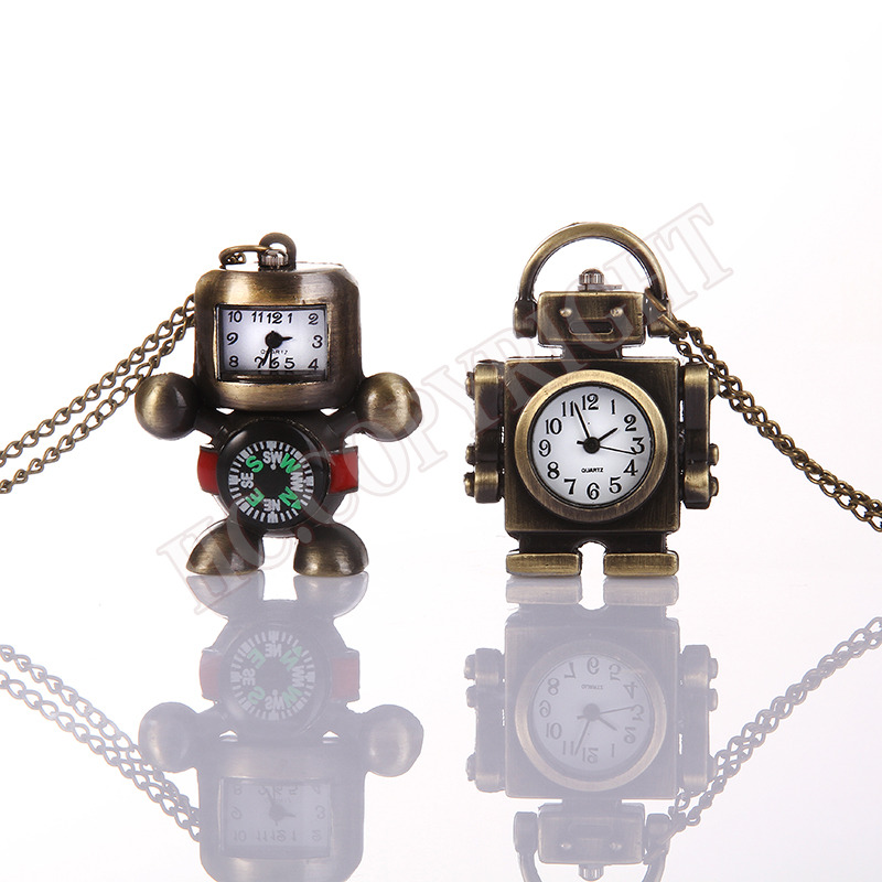 Creative Bronze Necklace Chain Robot Shape Pattern Pocket Watches Women Men Quartz Clock For Ladies Retro Analog Clock Firm In Structure Watches