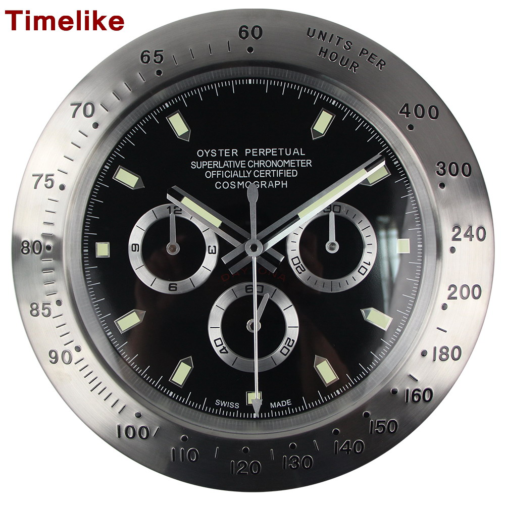 Hot Silver Metal Wall Clocks 2019 New Arrivals Antique Style Black Single Face Quartz Clock Wristwatch