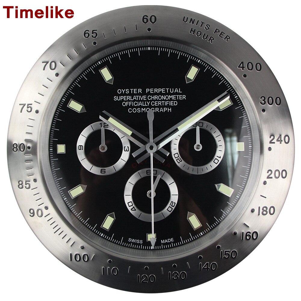 Horloges murales en métal argenté chaud 2019 nouveaux arrivants Style Antique noir horloge à Quartz simple Face montre bracelet Design décor à la maison cadeaux-in Horloges murales from Maison & Animalerie    1