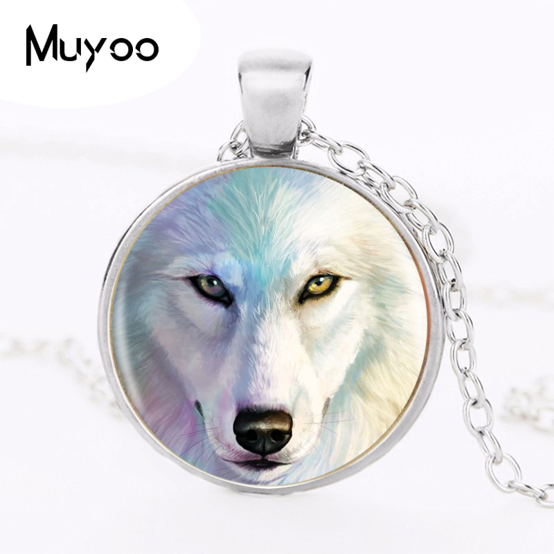 1pcs/lot Wolf Silver Pendant Necklace Long Chian Statement Handmade Vintage Necklace A Good Gift HZ1