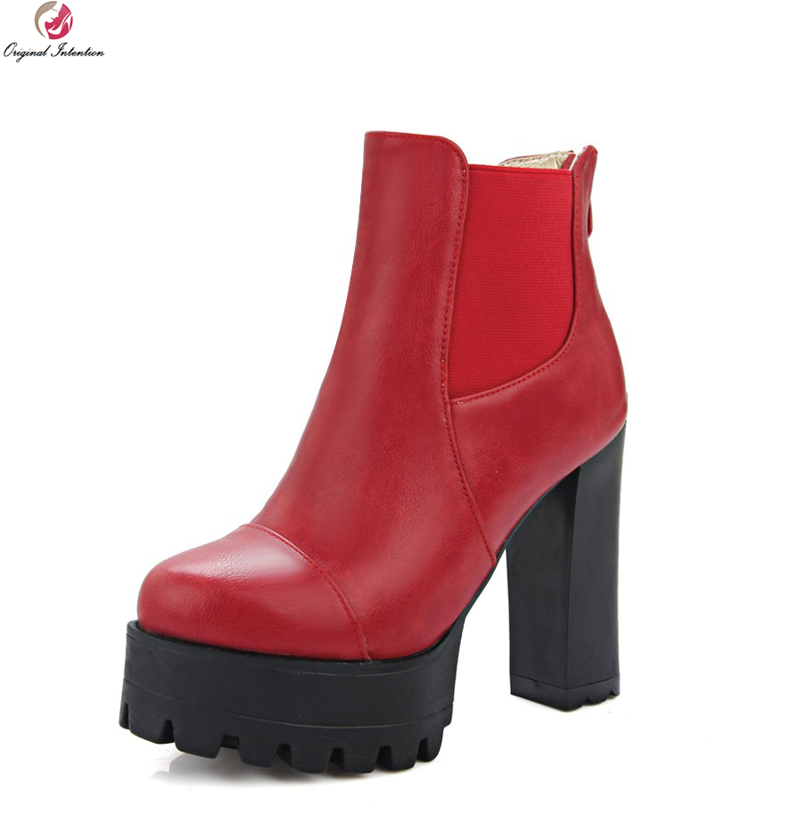 Original Intention High-quality Women Ankle Boots Round Toe Square Heels Popular Black Grey Red Shoes Woman US Size 3.5-10.5 стоимость