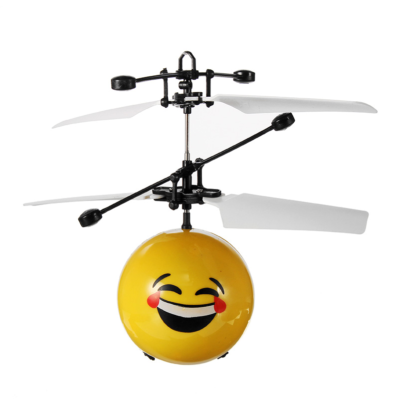 New Arrival Cute Hand Induction Aircraft Flying Facial Expression Emoji Helicopter Toy for Kids Toy Models Gift Cheap