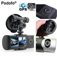 """Podofo Dual Kamera Auto DVR R300 mit GPS und 3D G-sensor 2,7 """"TFT LCD X3000 Cam Video Camcorder Zyklus Aufnahme Digitalzoom"""