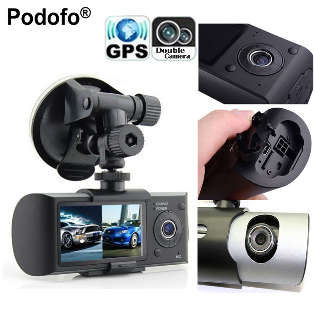 Podofo Dual Camera Car DVR R300 with GPS and 3D G-Sensor 2.7 TFT LCD X3000 Cam Video Camcorder Cycle Recording Digital Zoom