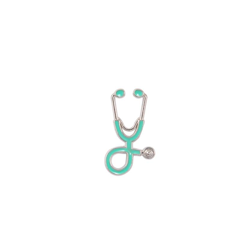 Креативные разноцветные броши, 18 стилей, стетоскоп доктора медсестры, эмалированные булавки, медицинские джинсовые куртки, сумки, ювелирные изделия, значки, подарки - Окраска металла: silver blue