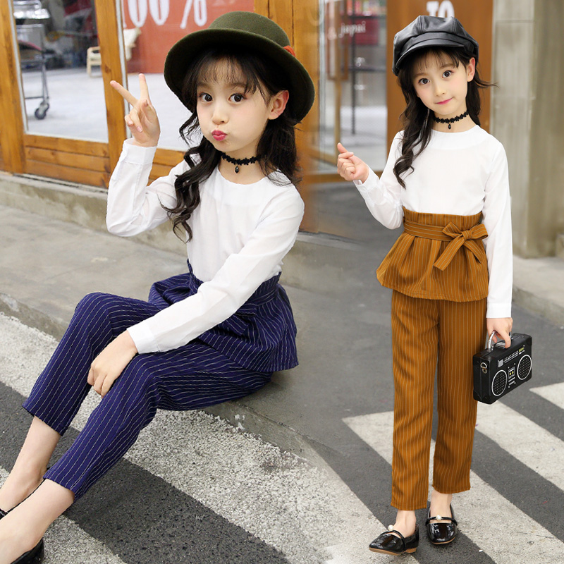 2018 New Spring Costume Girls Clothing Sets 2 Pcs Striped T-shirts + Pants Long Sleeve Girls Clothing Set Roupas Infantis Menina 2017 new minnie girls clothing sets spring casual cotton baby suspenders set full sleeve shirts jeans 2 pcs kids clothing