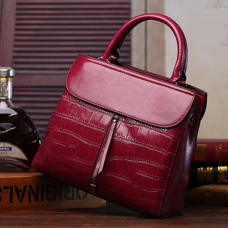 New 2016 Fashion Brand Cow Split leather Women Handbag Europe and America Leather Shoulder Bag Stone Pattern Casual Women Bag