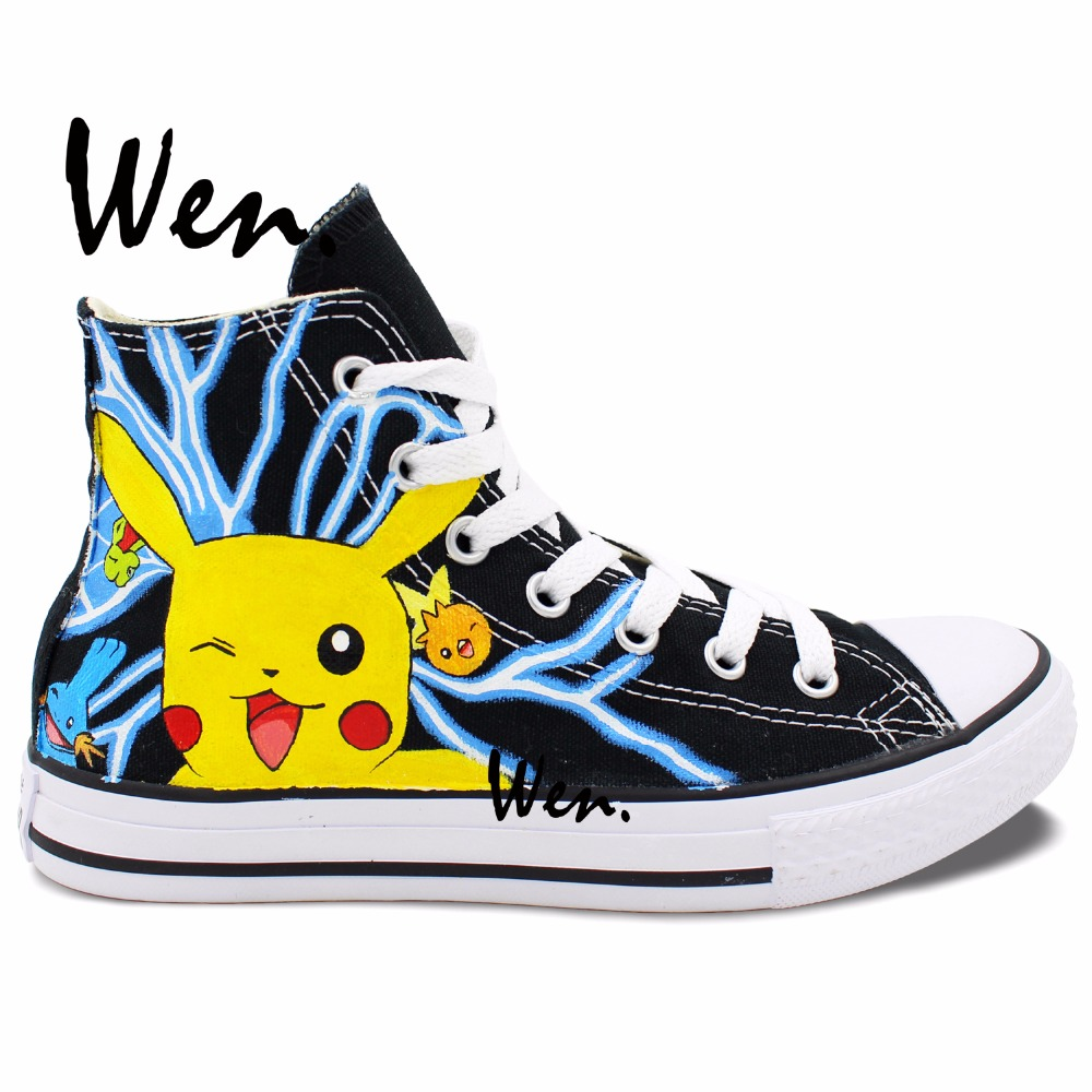 15a314b25c85 Wen Anime Hand Painted Shoes Custom Design Pikachu Ash Pokemon Go Men  Women s High Top Canvas Shoes Christmas Gifts