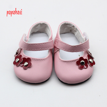 1pair Pink Flower PU Dolls Shoes Fits For 18inch American girl Dolls mini Boot Accessories