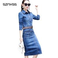 Jeans Dress Fashion 2017 Summer Women Denim Dresses Long Sleeve Turn Down Collar Plus Size Elegant