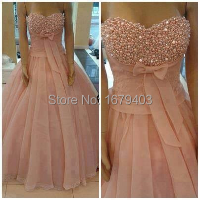 Actual Image Prom Dresses 2014 Pink Beaded Ball Gown Custom Make ...