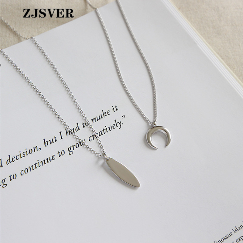 ZJSVER Fine Jewelry 925 Sterling Silver Necklace Geometric Strip/Moon Two Shape Pendant Simple Silver Chain Women Necklace Gift