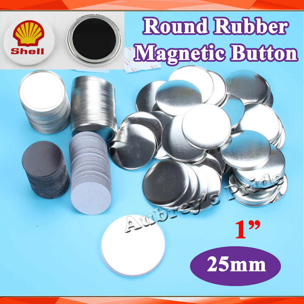 "1 ""25mm 100 Sets Bahan Tombol Pasokan Karet Soft Magnetic untuk Badge Profesional Button Maker"