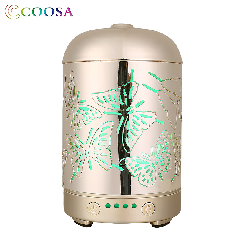COOSA 3D Metal Butterfly Ultrasonic Air Humidifier 100ml Gold Essential Oil Diffuser 7 Color Changing LED Lights for Home OfficeCOOSA 3D Metal Butterfly Ultrasonic Air Humidifier 100ml Gold Essential Oil Diffuser 7 Color Changing LED Lights for Home Office