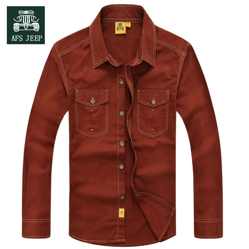 AFS JEEP 2015 Spring Autumn Fashion Men\'s Cotton Dress Shirts Camisa Hombre Plus Size Blouse Vestido Men Clothes Casual 2XL 3XL