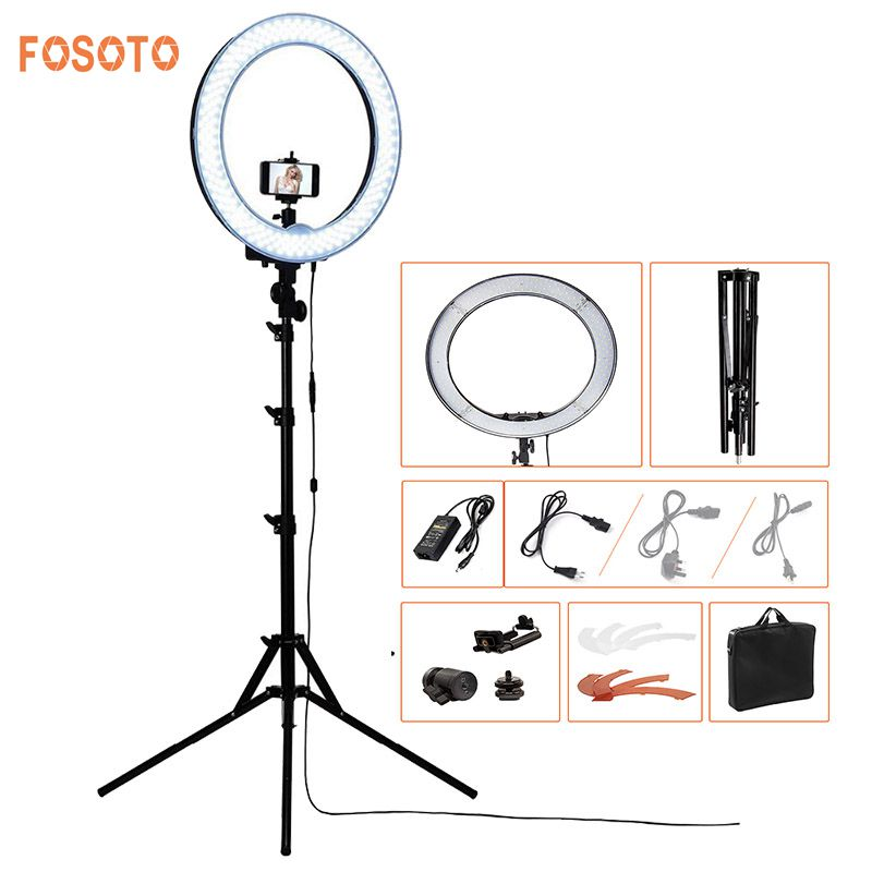 FOSOTO RL-18 240LED 5500K Dimmable Photography/Photo/Studio/Phone/Video Ring Light Lamp&Tripod Stand For Canon Nikon Dslr Camera yongnuo yn128 camera photo studio phone video 128 led ring light 3200k 5500k photography dimmable ring lamp for iphone 7 7 plus