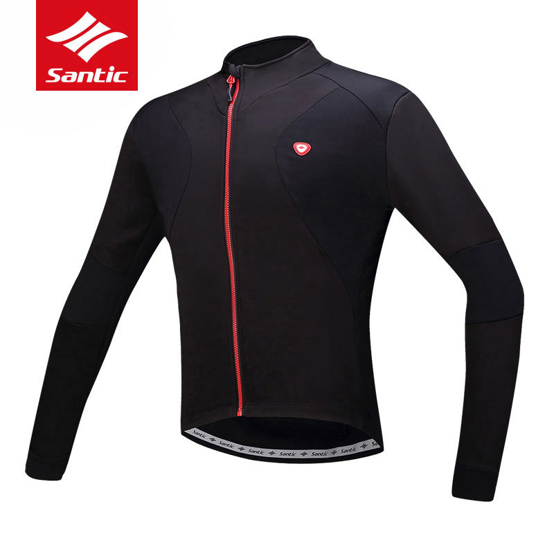 Santic Men Long Sleeve Cycling Jersey Windproof Bicycle Jersey Fleece Thermal MTB Road Bike Jacket Outdoor