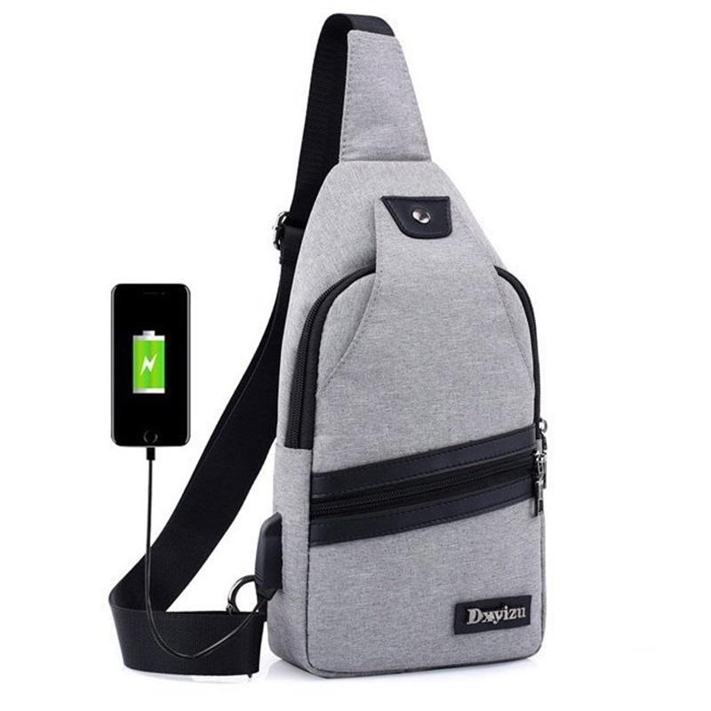 de94d5b226ef Detail Feedback Questions about New USB Design Chest Bag Women Backpacks  Men Sling Bag Crossbody One Shoulder Strap Rucksack Polyester Cross Body  Travel ...