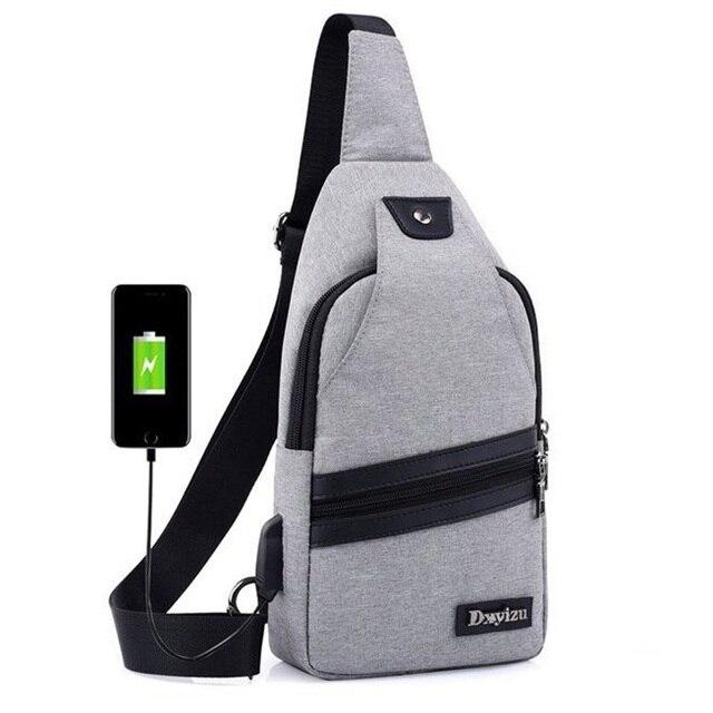 New Usb Design Chest Bag Women Backpacks Men Sling Crossbody One Shoulder Strap Rucksack Polyester