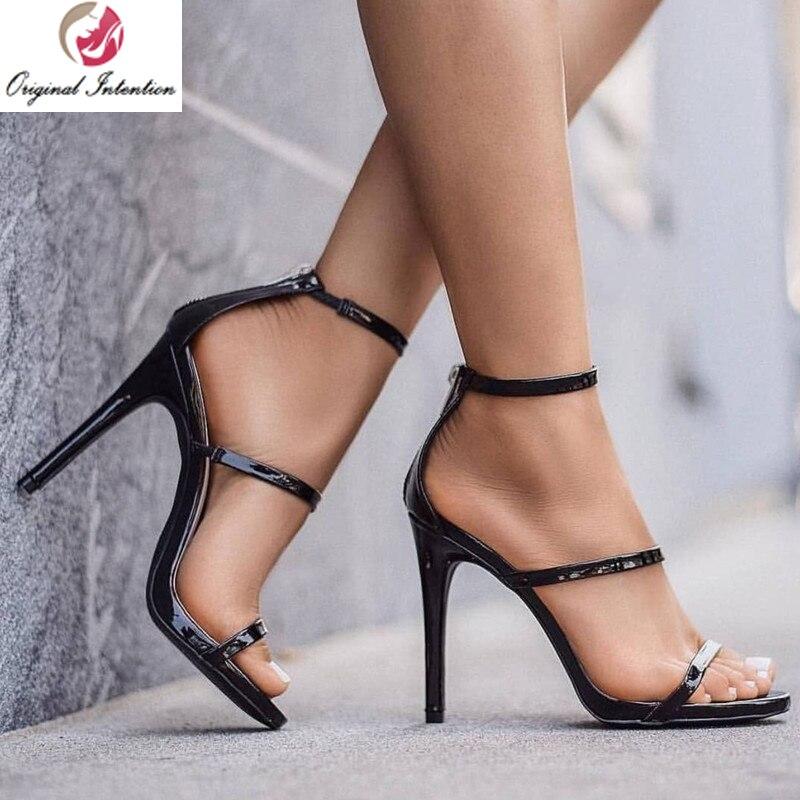 Original Intention Stylish Women Stiletto Sandals Summer Open Toe High Heels Sandals Patent Leather Black Shoes Woman Size 15
