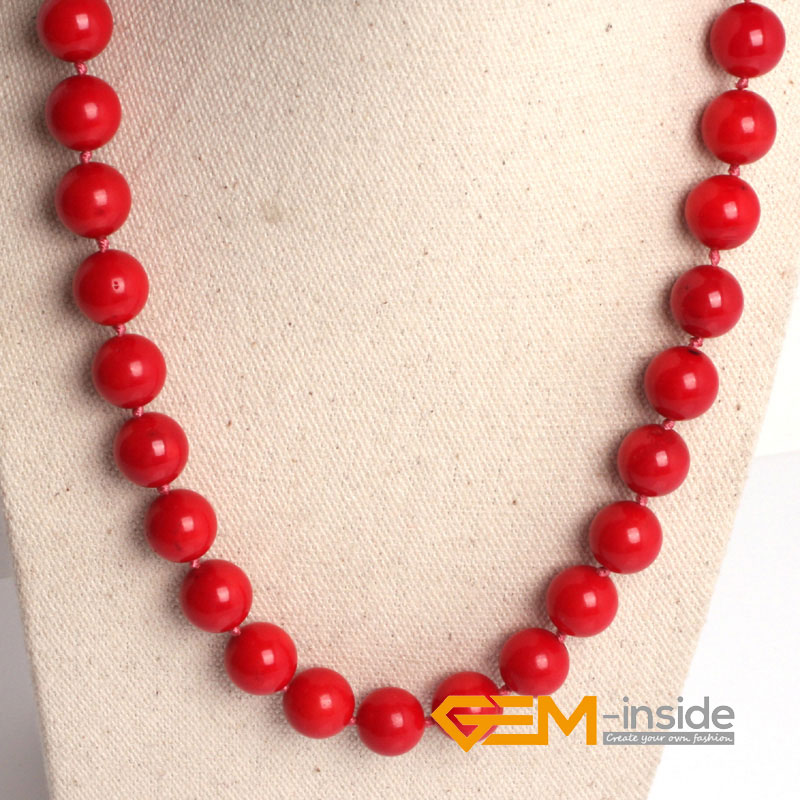 8mm 10mm 12mm red coral necklace (dyed from white coral ) DIY jewelry for women gift Yoga Meditation necklace free shipping