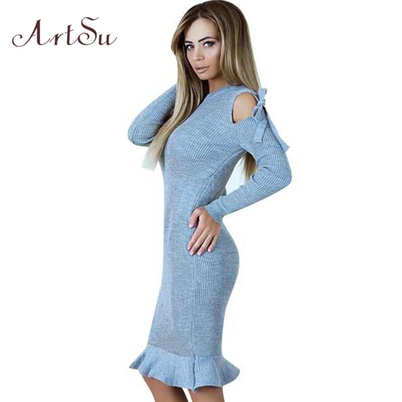 ArtSu Off Shoulder Ruffle Knitted Dress Women Long Sleeve Winter Spring 2018 Dresses Sexy Slim Party Bow Tied Vestidos ASDR30534