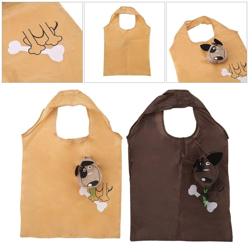2018 Cartoon Dog Foldable Folding Shopping Bag Handbag Nylon Casual Recycle Carrier Tote Reusable Eco Drawstring THINKTHENDO new style cartoon fruit lemon eco bag useful nylon foldable reusable shopping bags