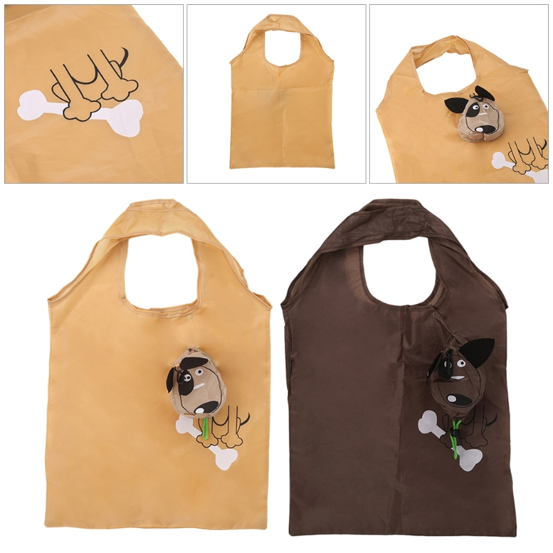 2020 Cartoon Dog Foldable Folding Shopping Bag Handbag Nylon Casual Recycle Carrier Tote Reusable Eco Drawstring THINKTHENDO