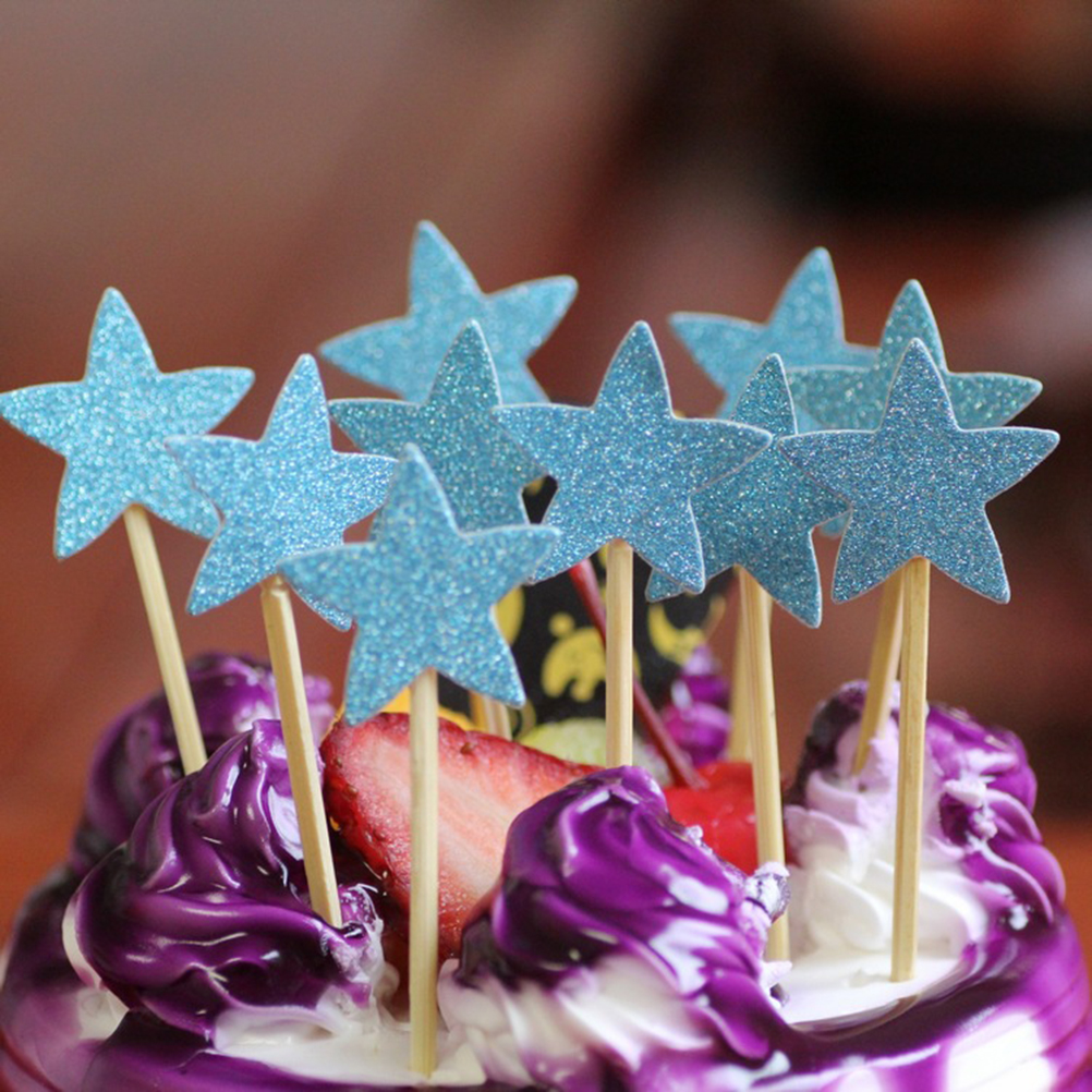 50Pcs Cake Toppers Lovely Glitter Paper Pentagram Fruit Picks Cake Decorating Birthday Wedding Party Favors in Cake Decorating Supplies from Home Garden