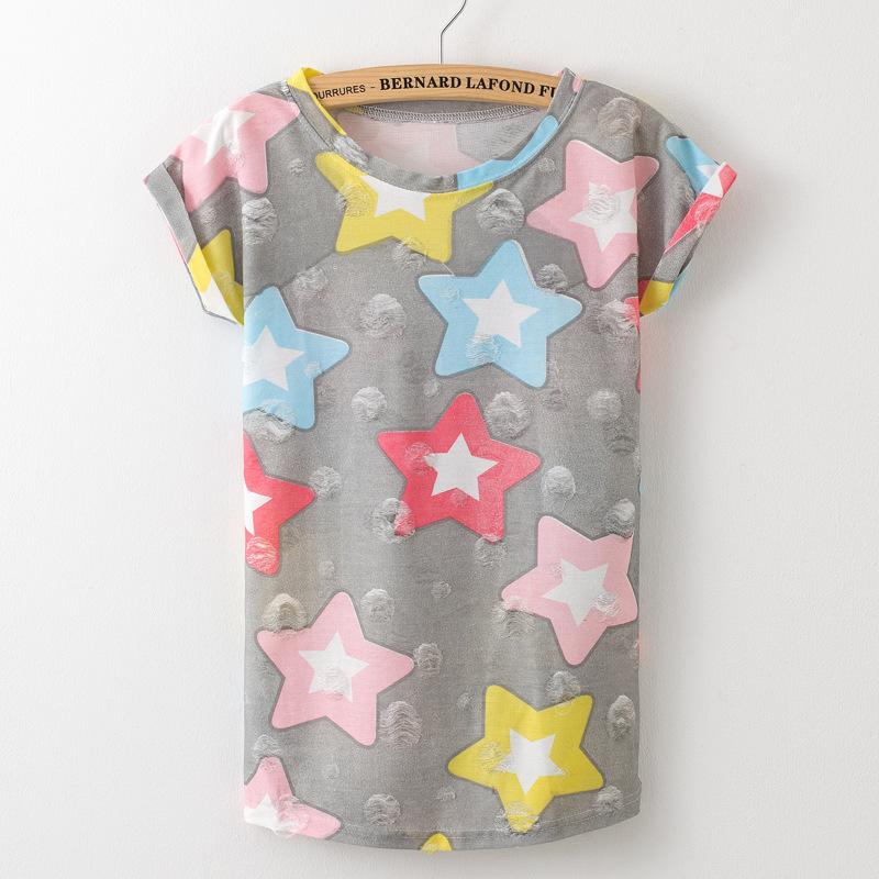 HTB1PTBzPFXXXXaNXVXXq6xXFXXXO - Tassel Design Hole T-shirt Print Frayed Hole T Shirts
