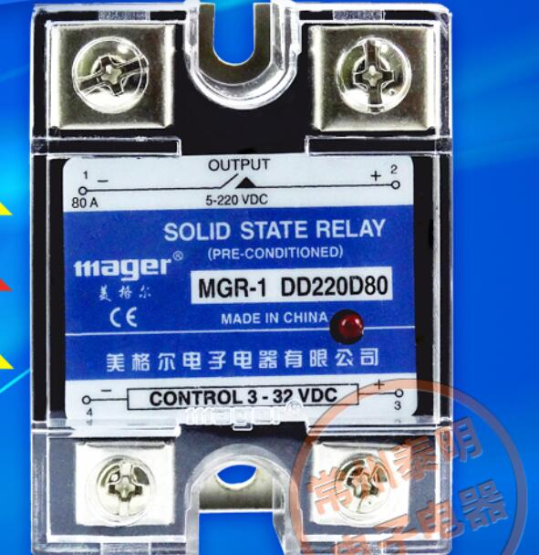 mager Genuine new original SSR-80DD Single Phase Solid State Relay 24V DC Controlled DC 80A MGR-1 DD220D80 ssr mgr 1 d4860 meike er normally open type single phase solid state relay 60a dc ac
