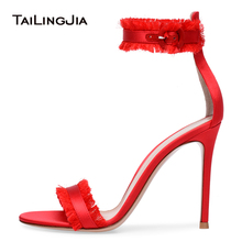Red Satin High Heel Fringe Sandals Two Straps Sexy Dress Shoes Women Ankle Strap Stiletto Heels Wild Ladies Summer 2018