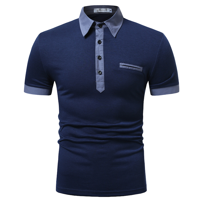 POLO shirt men 39 s two color stitching fashion short sleeve long door tube decorative casual cotton comfortable breathable POLO in Polo from Men 39 s Clothing