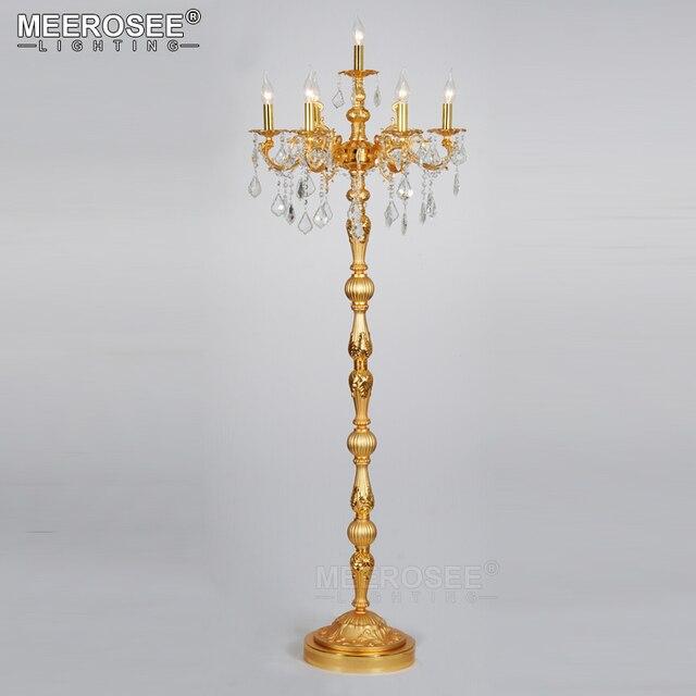 Bronze Silver Gold Crystal Floor Lamp Standing Light Fixture Cristal Re Candelabra Lighting Luminaire Centerpiece