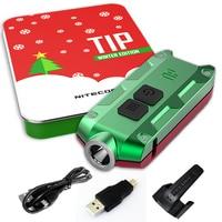 NITECORE TIP Holiday Gift Set Metalen Oplaadbare Batterij KeyButton ECD Zaklamp + multifunctionele Clip + Usb-kabel Wenskaart