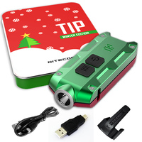 NITECORE TIP Holiday Gift Set Metal Rechargeable Battery KeyButton ECD FlashLight Multi Purpose Clip USB Cable