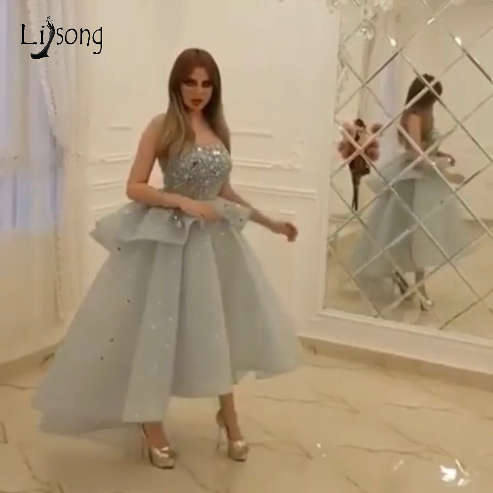 Fashion Silver Crystal High Low   Prom     Dresses   2019 Sparkle Crystal Ruffles Ankle Length Evening Gowns Off Shoulder Formal   Dress