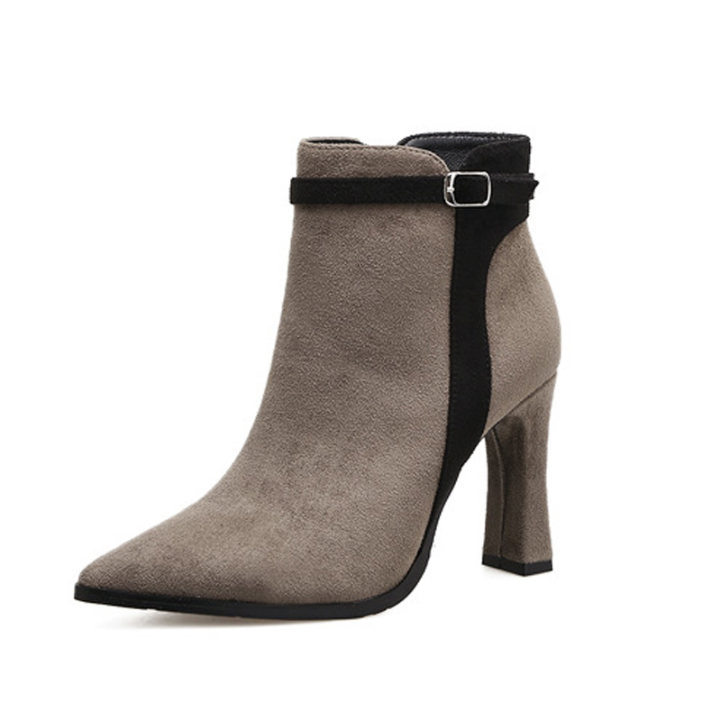 Winter Women Ankle Boot Chunky High Heeled Pointed Toe Buckle Boots Shoes Martin Booties Botas Sexy Dress Shoes