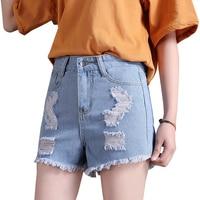 LEQEMAO Brand 2018 Summer High Waist Denim Shorts Women Style New Fashion Slim Casual Femme Short