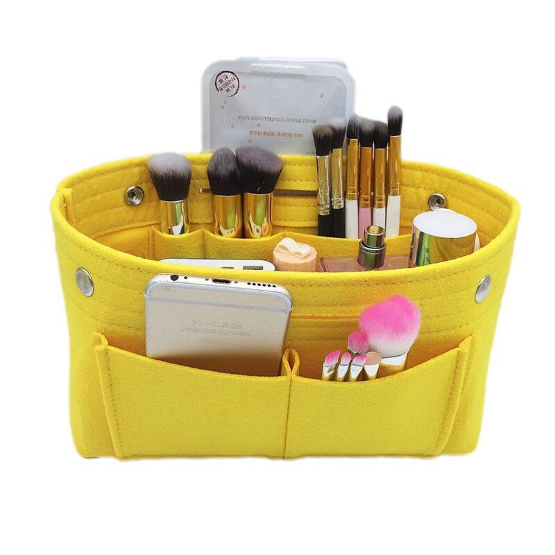 SAFEBET Felt Cosmetic Insert Storage Bags Makeup Organizer For Sundries Toiletry Phone Large Capacity Folding Inner Desktop Bag