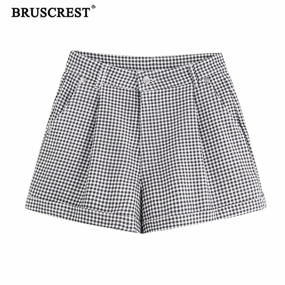 Summer High Waist Shorts Women Plaid Short Pocket Gray Korean Style Rave Streetwear Female Casual  Short Pants Womens Clothing
