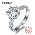 YINHED Solid Silver Ring Stamp S925 3 Carat SONA CZ Diamond Engagement Ring 925 Sterling Silver Wedding Rings for Women ZR207