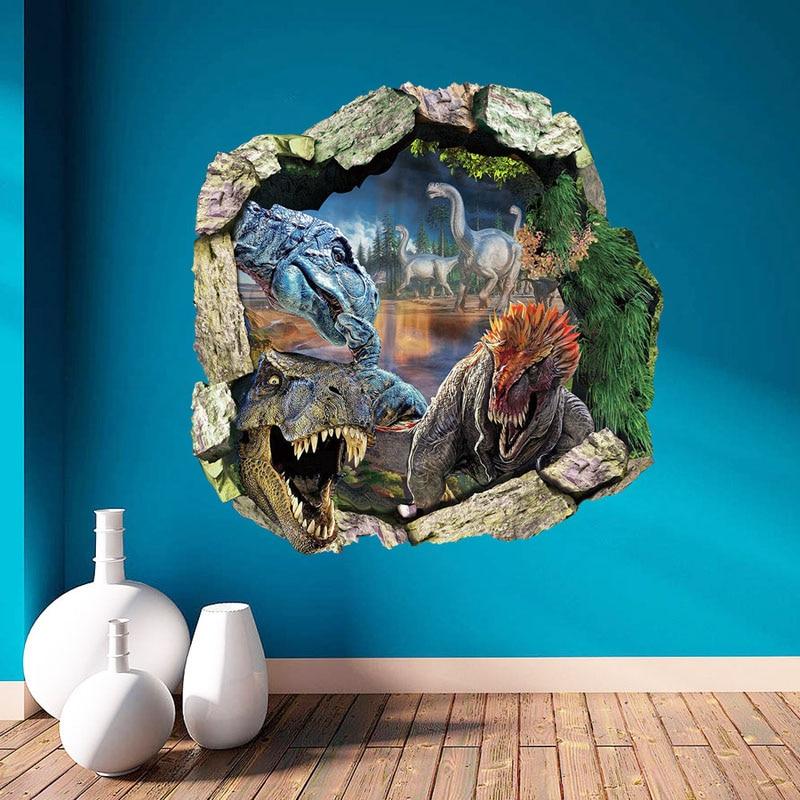 Dinosaur Dünya Divar Etiketləri 3D Ev Dekorasiya Çıkarılabilir - Ev dekoru - Fotoqrafiya 4