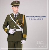 Unisex Green China guard hornist art costumes Flag raising ceremony suit Military Uniform Guard Suit Army drummer clothing