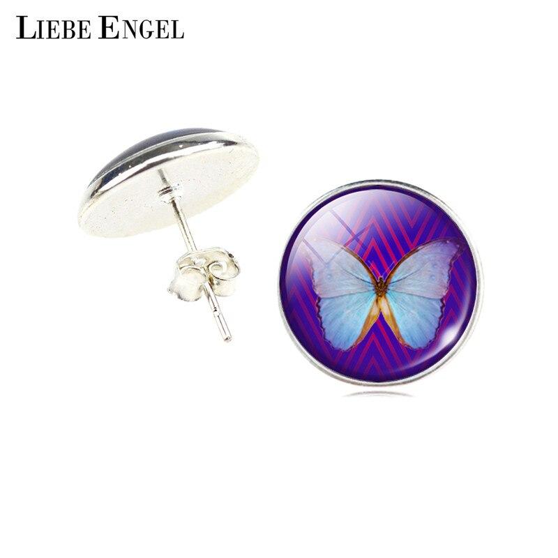 웃 유LIEBE ENGEL Papillon Boucles D oreilles En Verre Dôme Cabochon ... 65c40dddf59