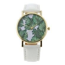 Fashion Natural Leaves Pattern Watch Women Leather Sport Watches Ladies Quartz Wrist Watch reloj mujer bayan saat